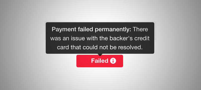 Kickstarter failed payment notification