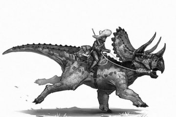 a cowboy riding a dinosaur in the wild west