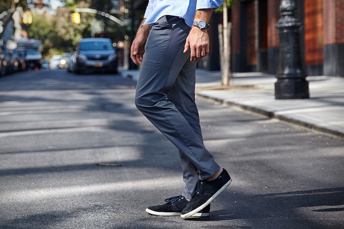 Man wearing woodies high performance chinos on the street