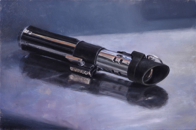 Drew Baker Star Wars Lightsaber Oil Painting