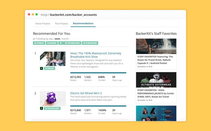 backerkit backer account discover